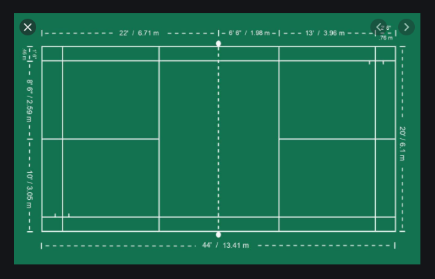 What is the length of badminton court for single competition?
